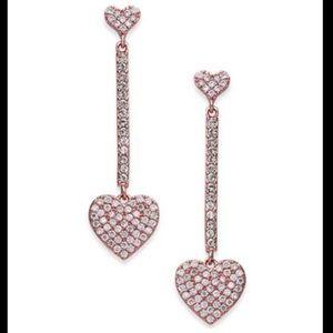NWT Kate Spade Rose Gold Pavé Heart Drop Earrings